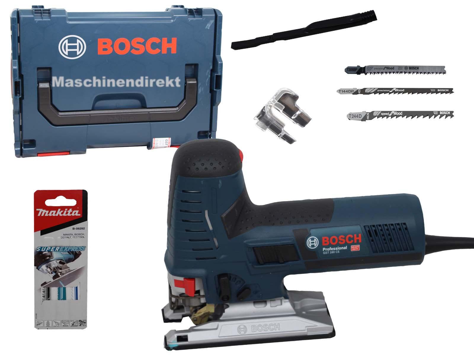 Bosch Stichsäge GST 160 CE Professional + Makita Stichsägeblatt Set 3 Stk Supere