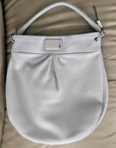 MARC-JACOBS-Classic-Q-Hillier-Leather-Hobo-Shoulder-Bag-Ice-Blue-Gray-NWOT