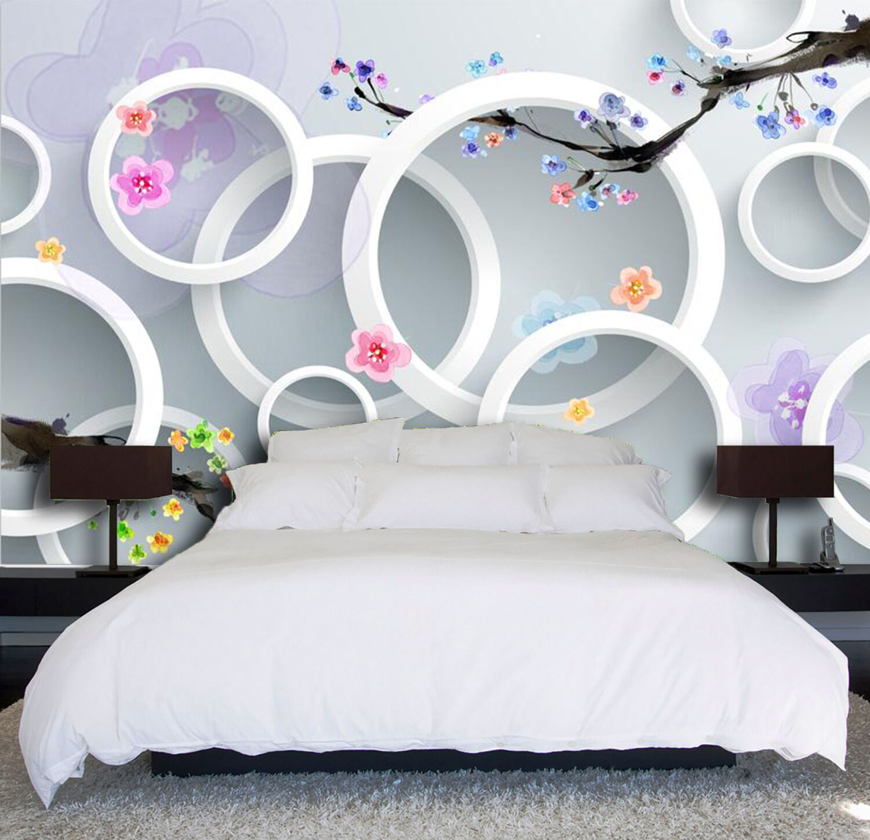 3D Kreis, bunte bluemen 236 Fototapeten Wandbild Fototapete BildTapete Familie