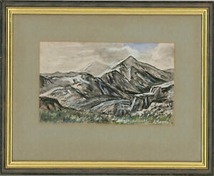 Edward-Morgan-1933-2009-20th-Century-Watercolour-Snowdon-Wales