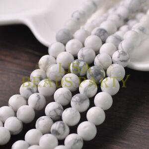 30pcs-8mm-Round-Natural-Stone-Loose-Gemstone-Beads-White-Howlite