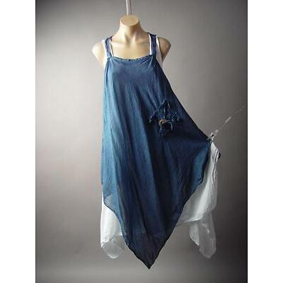Lagenlook Italy Country Prairie Boho Handkerchief Peasant Pinafore 202 mv Dress