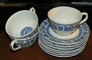 3-Wedgwood-cups-7-saucers-Yale-Branford-Founders-House-EXC