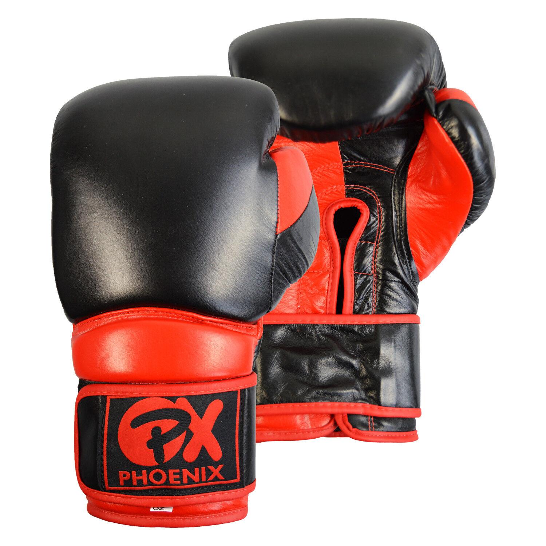 PX Leder Boxhandschuh Boxhandschuh Leder COMBAT, schwarz-rot 9c8d36