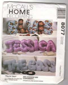 Details About Mccall S 8077 Home Decor Pillow Talk Stuffed Letters Sewing Pattern