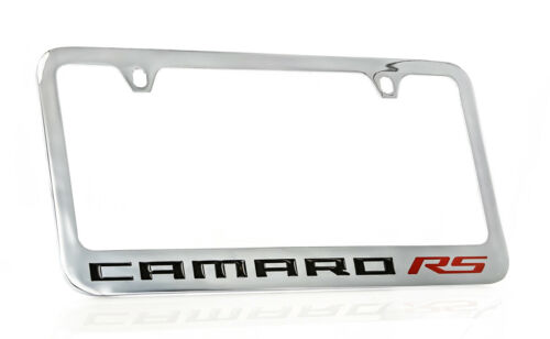 Details about  /Chevrolet Camaro RS Chrome Plated Brass Metal License Plate Frame Holder