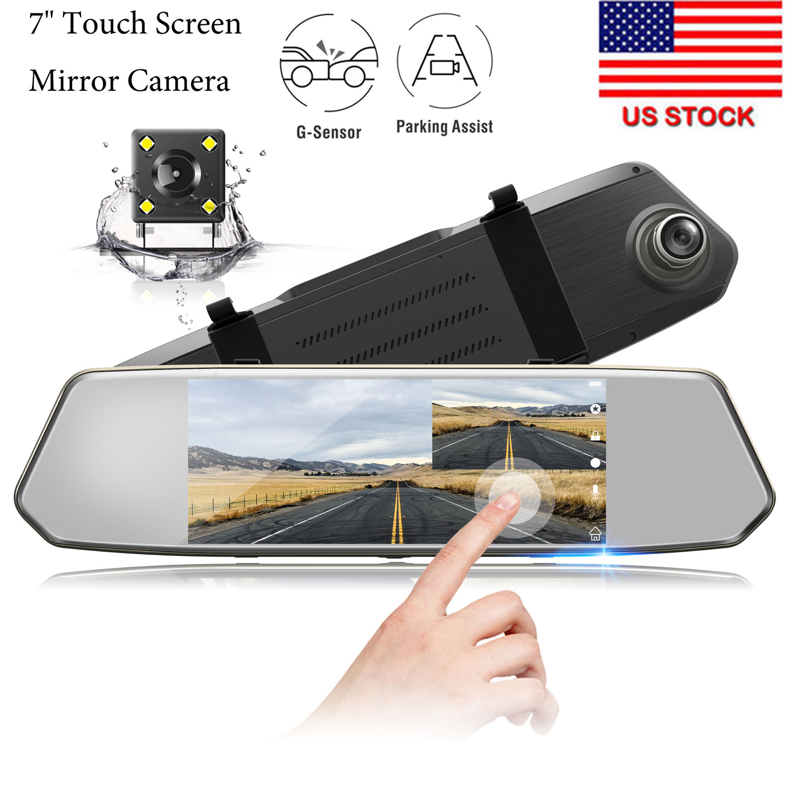 "s-l1600 TOGUARD 7"" Dual Lens Backup Camera Touchscreen Mirror Dash Cam 1080P Rearview US"