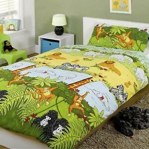 Jungle-Safari-Animal-Housse-Couette-Simple-amp-Set-Taie-D-039-Oreiller-Literie
