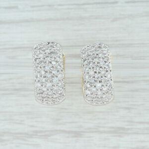 1-25-Diamond-Cluster-Huggie-Hoop-Earrings-14k-White-amp-Yellow-Gold-Pierced
