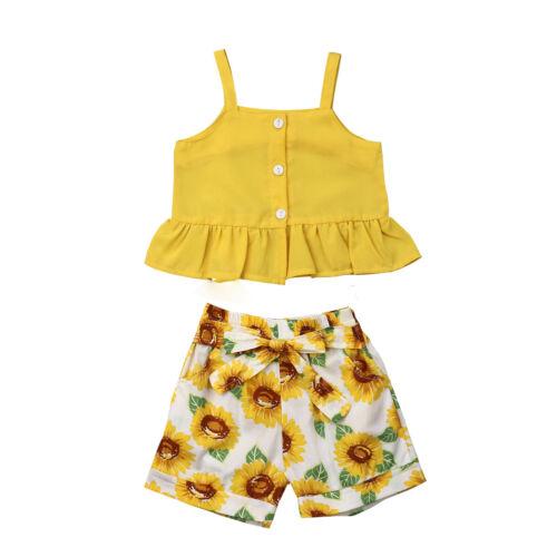 Summer Baby Kids Girls Toddler Tank Top Vest+Short Pants Outfits Clothes Set