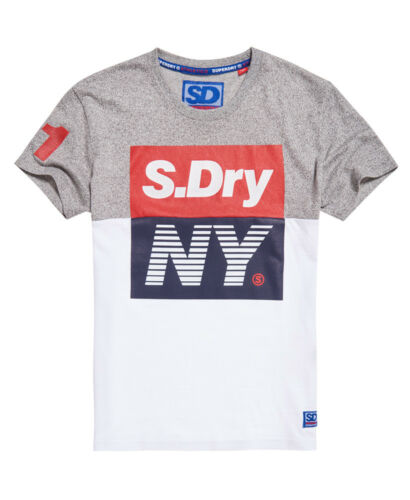 New Mens Superdry Sport Panel T-Shirt Grit Grey