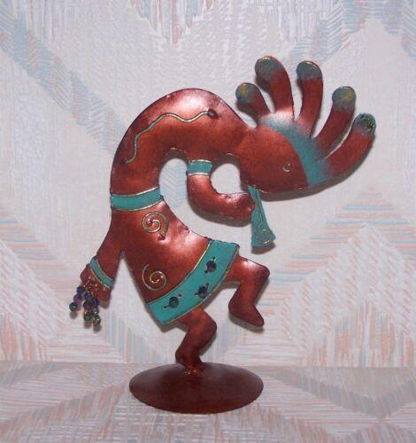 Kokopelli Medium Copper Colored Dancer Regal Art Nine Inches Tall Metal