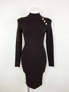 Etcetera-Brown-Gold-Buttons-Long-Sleeve-Turtle-Neck-Stretch-Sweater-Dress-Sz-XS