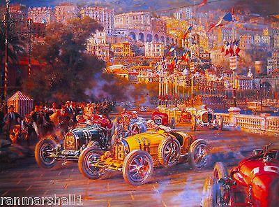 1929 First Monaco Grand Prix Automobile Race Car Advertisement Vintage Poster