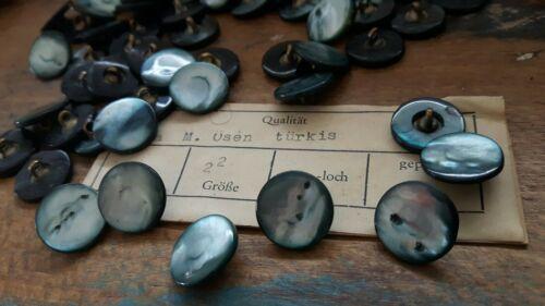 ♥ nº p11-encantador vieja madreperla botones turquesa 12 unidades dm 14 mm ♥