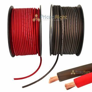 20' Super Flexible 8 Gauge Power & Ground Wire / Cable 10' Red 10 ft Black