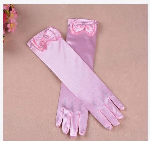 Wedding Flower Girl/'s Stretch Satin Dress Gloves Toddlers Baby Girls 4-10 Years