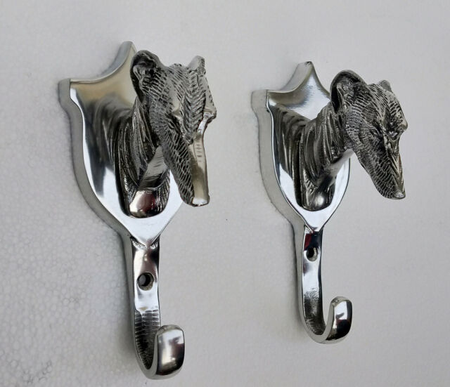 Wall Mounted Greyhound Head Coat Hook Dog Head hook Aluminium Set of 5 pieces