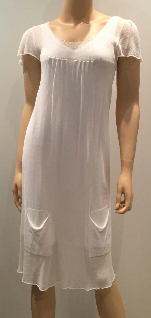 LIVIANA CONTI Weißes Kleid Partykleid Sommerkleid Strickkleid  Größe 36