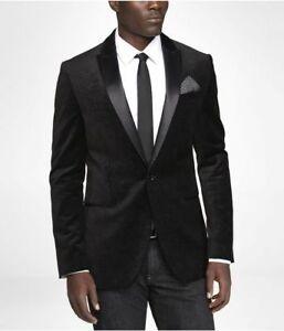 Mens Black Velvet Fashion Designer Slim Fit Blazer Dinner Party Wear