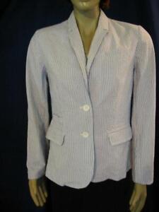 Nydj Seersucker Blazer Jacket S Not Your Daughters Jeans Ebay