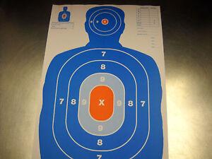 NEW-25-Orange-amp-Blue-Silhouette-gun-rifle-paper-shooting-targets-12X18