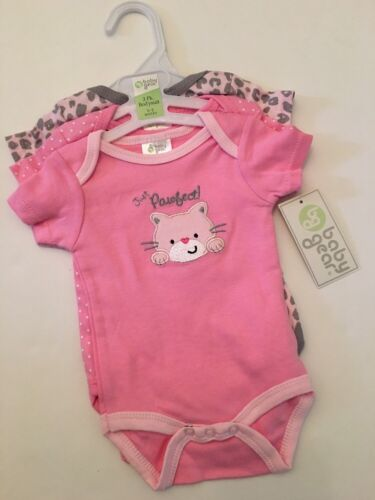 Baby Gear Girl 3 Rompers Bodysuits Size 3 6 9 Months Layette Pink Cheetah Cat