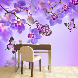 Image Is Loading Purple Flower Wall Mural Floral Butterfly Photo Wallpaper
