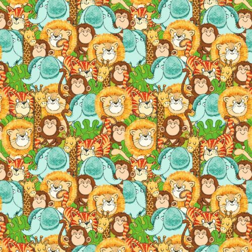 Fabric Baby Playful Cuties Zoo Safari Animals Full on Flannel by the 1//4 yard