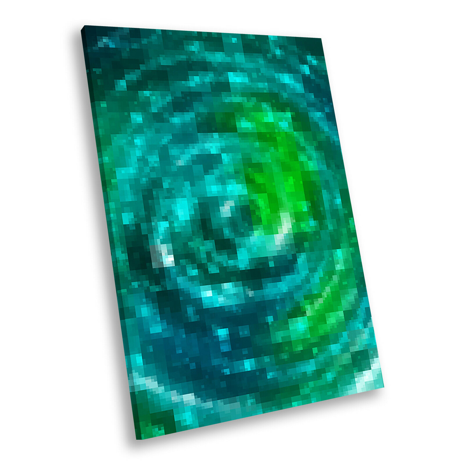 Grün Blau Teal Cool Portrait Abstract Canvas Framed Art Large Picture