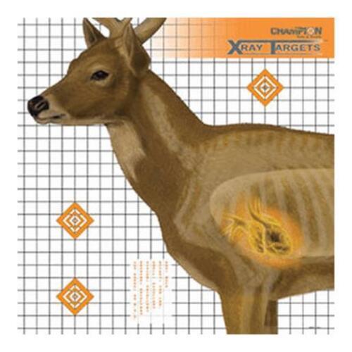 Champion 45902 Deer X-Ray Anatomy Vital Zone Paper 25X25 6 Pack Shooting Targets