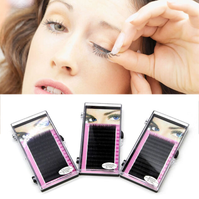 Makeup Individual False Eyelashes Thick Curl Eye Lash Extensions  8/10/12mm
