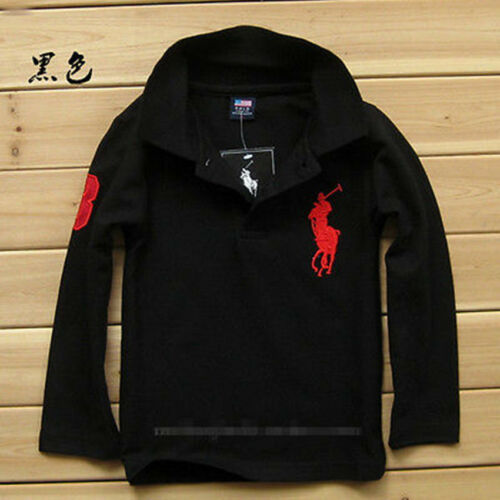 2019 Children/'s cotton Long Sleeve Boys Girls polo T-shirt 11 Color 2-13Y