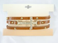New Brown Leather Bracelet with Crystal Sideways Cross & Grommets #B1419