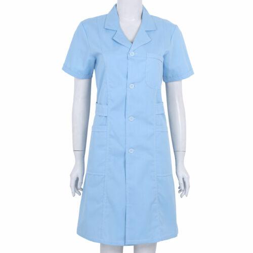 Women Adult Medical Uniform Lab Hospital Coat Nurse Doctor Scrub Cosplay Costume