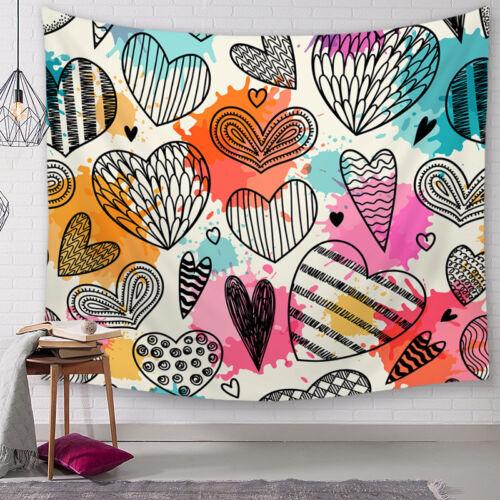 Art Room Wall Hanging Love Heart Valentine/'s Day Tapestry Bedspread Dorm Decor