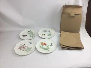 "New Lenox Butterfly Meadow 4 9"" Luncheon Salad Dessert Plates 4 Patterns"