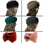 Womens Chunky Braided Cableknit Head Wrap Headband Ear Muffs Warmer Buttons Lot