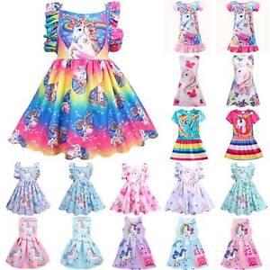 Kids Unicorn Nightdress Nightie Pyjamas Pj/'s Girls Princess Holiday Party Dress