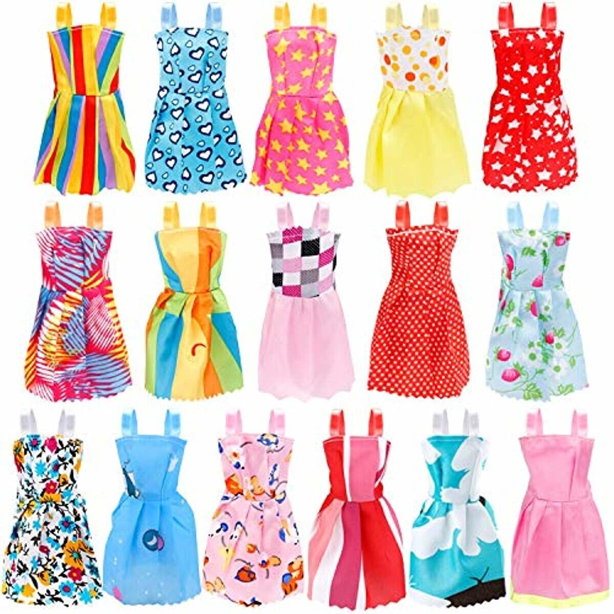 120PCS Dress Short Skirt Shoes Bags Necklace Tableware Accessory for Barbie Doll
