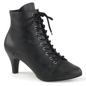 e2c314b5b5 Pleaser DIVINE-1020 Womens Sexy Black Faux Lace Up Victorian Ankle ...