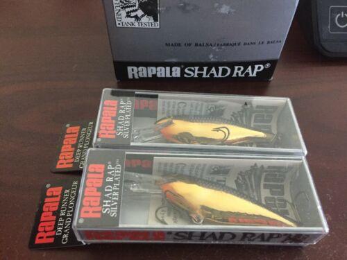 Black//Gold Deep Runner lot of 2 new old stock Rapala Shad Rap SR-7 SG