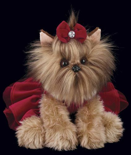 "BEARINGTON Plush Toy YORKSHIRE TERRIER Stuffed 13"" CHRISTMAS SANTA YORKIE DOG"