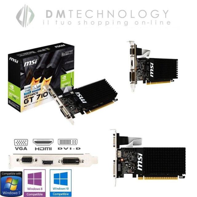 SCHEDA VIDEO 2GB GDDR3 GEFORCE GT 710 MSI NVIDIA 954MHZ VGA DVI HDMI 2GD3H LP