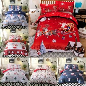 Winter-Christmas-Duvet-Bedding-Set-Xmas-Gift-Snowy-Night-Quilt-Soft-Bed-Sheets