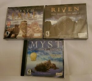 Myst Masterpiece Edition Riven Sequel Myst 3 III Exile (3 GAME PC CD LOT)