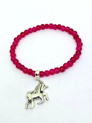 Handmade Unicorn Bracelet Party bag fillers girls bracelet Pink