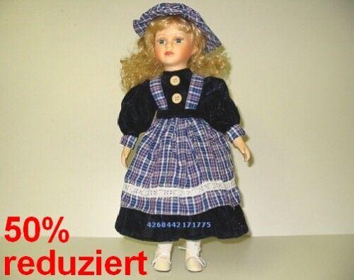 Dekopuppe und Sammlerpuppe in Größe ca Künstlerpuppe Sonja blau kariert 35cm