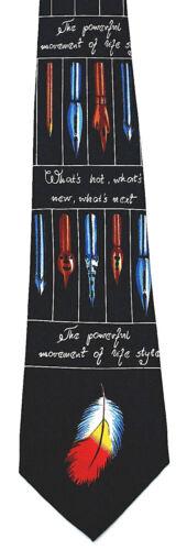 Fountain Pen Men/'s Neck Tie Writing Instrument Writer Novelist Blue Necktie