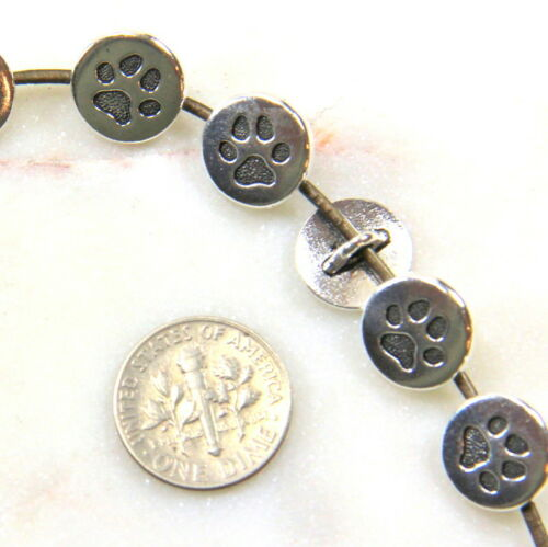 TierraCast Pet Paw Metal Shank Buttons Antiqued Silver Plate 9912 4 Pieces